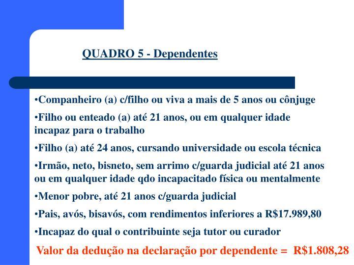 QUADRO 5 - Dependentes