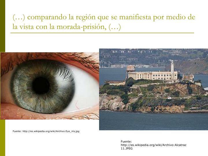 (…) comparando la región que se manifiesta por medio de la vista con la morada-prisión, (…)