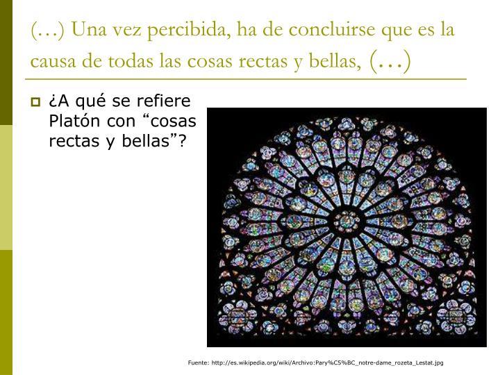 (…) Una vez percibida, ha de concluirse que es la causa de todas las cosas rectas y bellas,