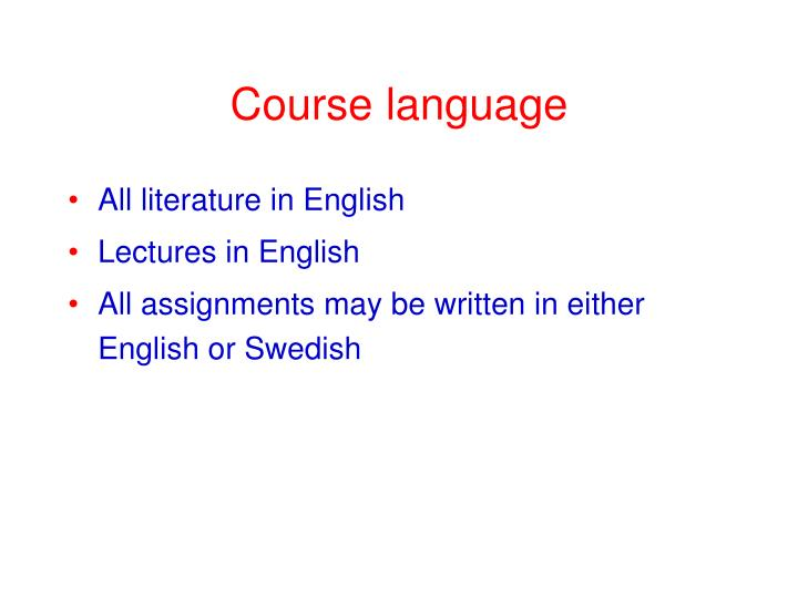 Course language