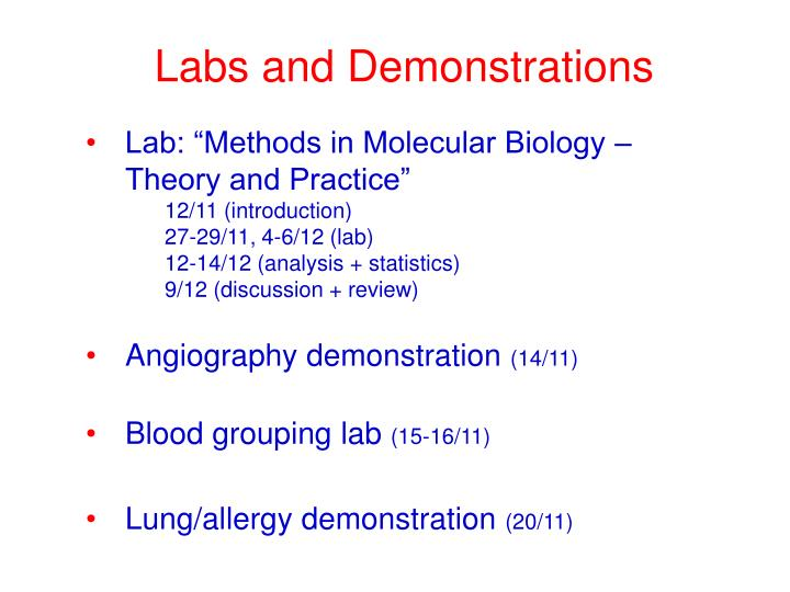 Labs and Demonstrations