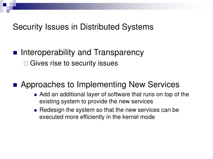 Security Issues in Distributed Systems