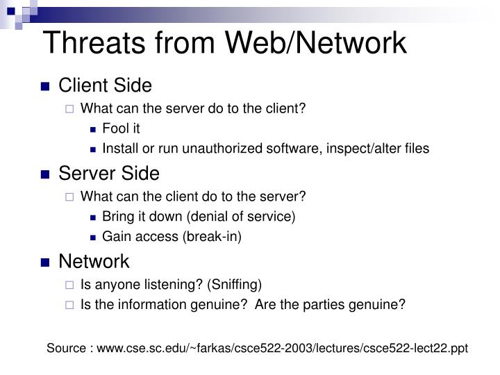 Threats from Web/Network
