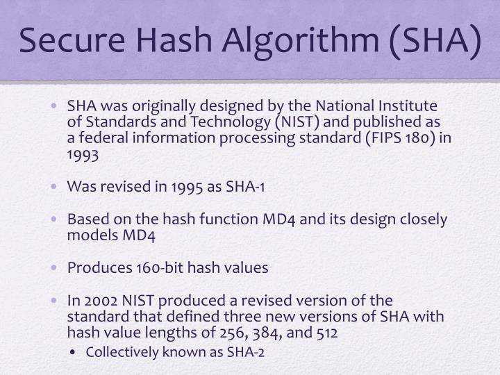 Secure Hash Algorithm (SHA)