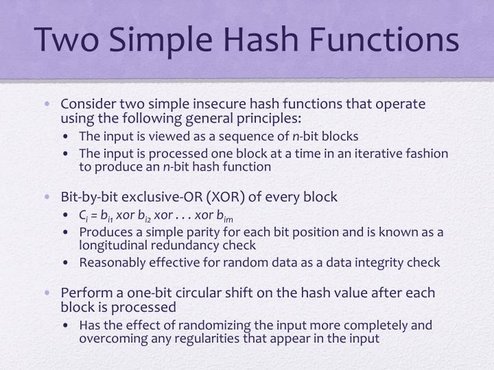 Two Simple Hash Functions