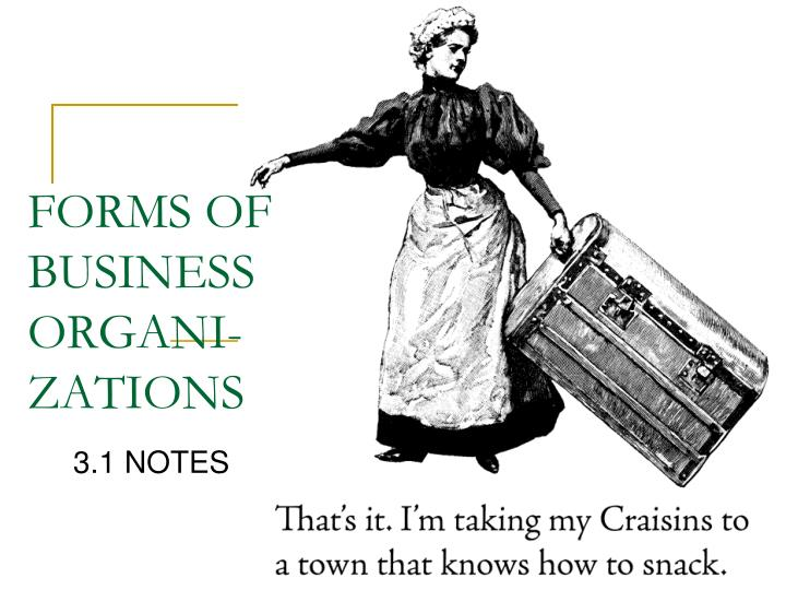 Forms of business organi zations