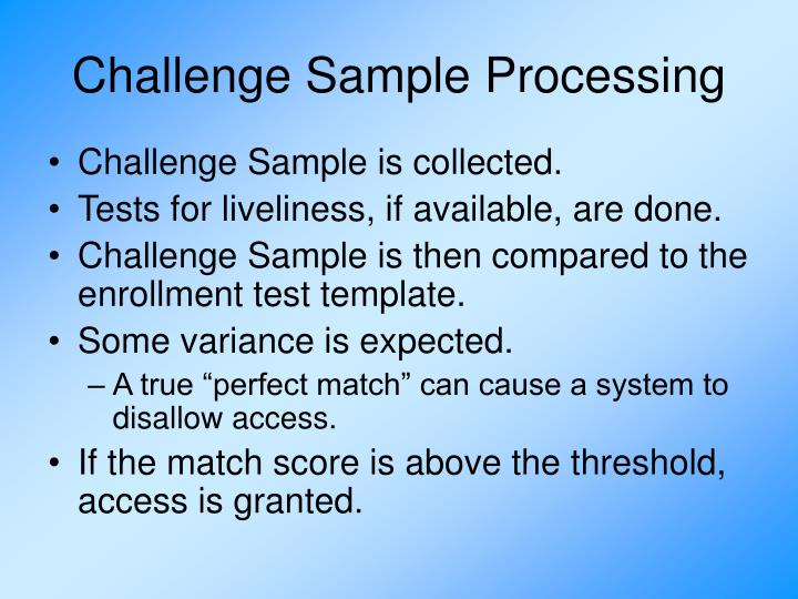 Challenge Sample Processing
