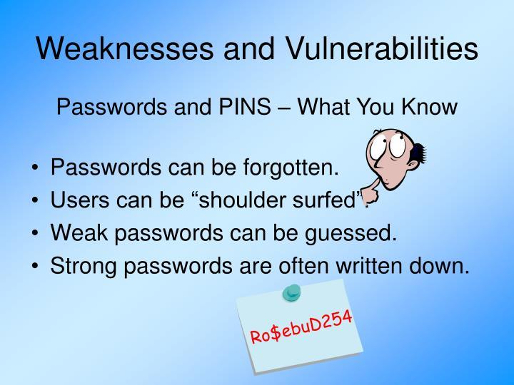Weaknesses and Vulnerabilities