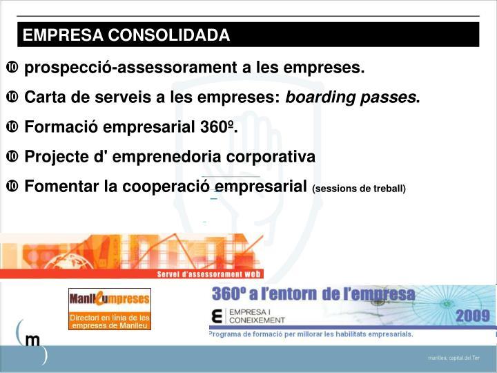 prospecció-assessorament a les empreses.