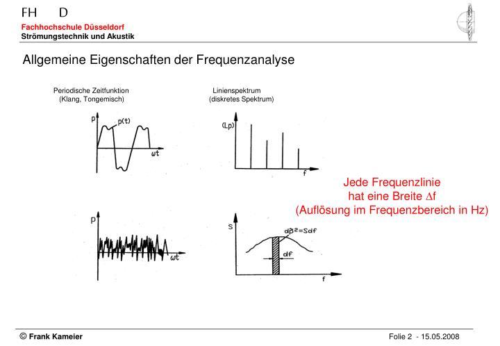 Allgemeine Eigenschaften der Frequenzanalyse
