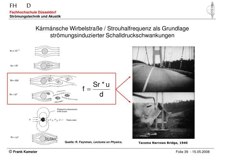 Kármánsche Wirbelstraße / Strouhalfrequenz als Grundlage strömungsinduzierter Schalldruckschwankungen