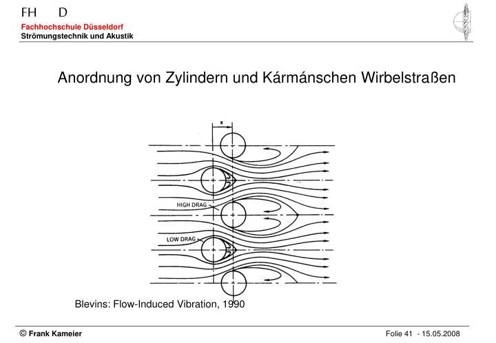 Anordnung von Zylindern und Kármánschen Wirbelstraßen