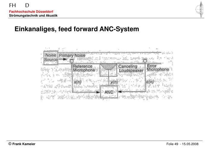 Einkanaliges, feed forward ANC-System