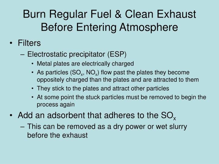 Burn Regular Fuel & Clean Exhaust Before Entering Atmosphere