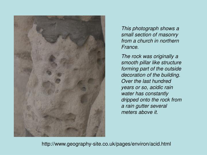 This photograph shows a small section of masonry from a church in northern France.