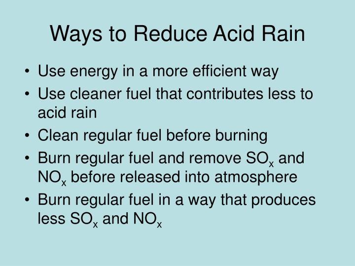 Ways to Reduce Acid Rain