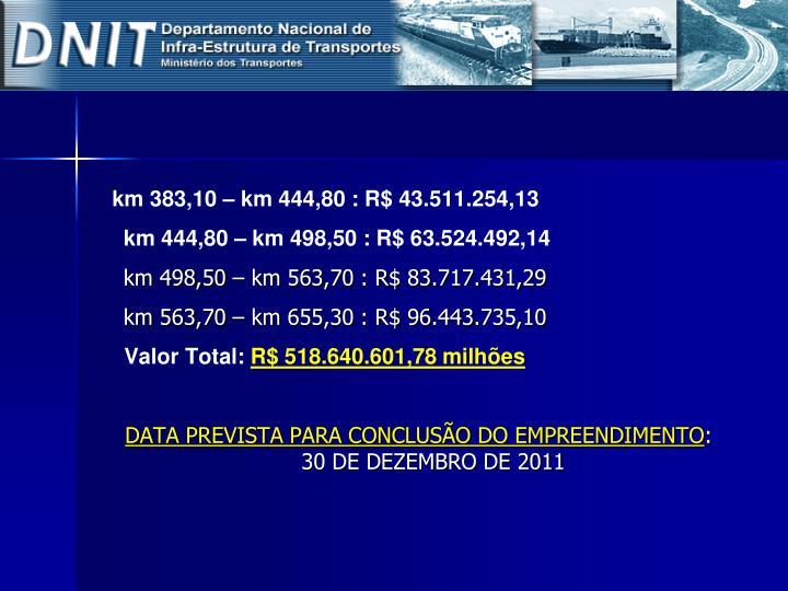 km 383,10 – km 444,80 : R$ 43.511.254,13