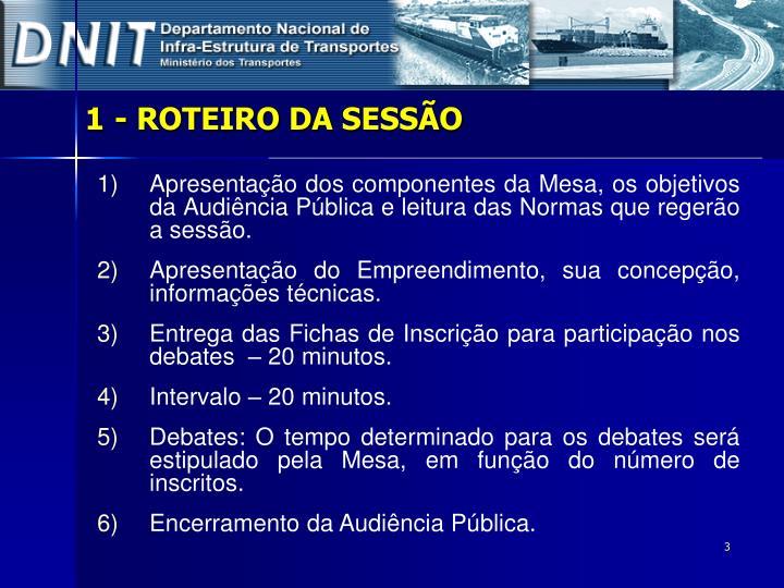 1- ROTEIRO DA SESSÃO