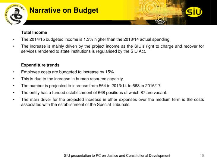 Narrative on Budget