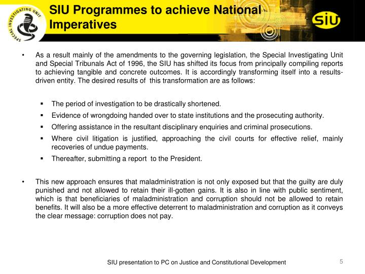 SIU Programmes to achieve National Imperatives