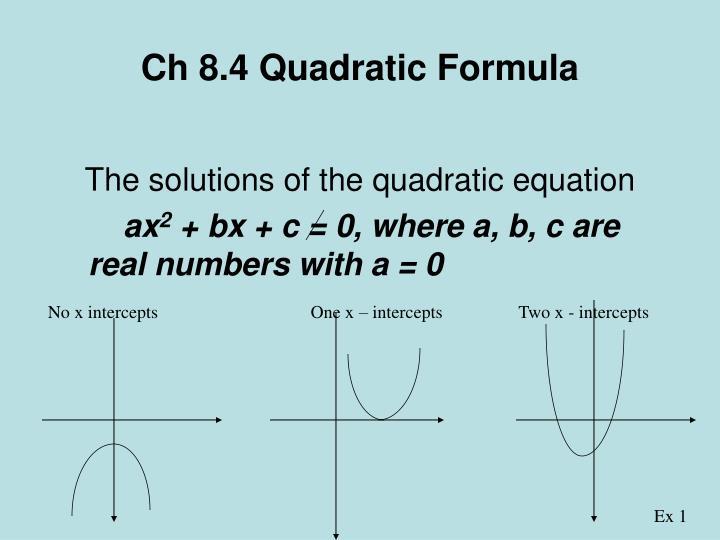 Ch 8.4 Quadratic Formula