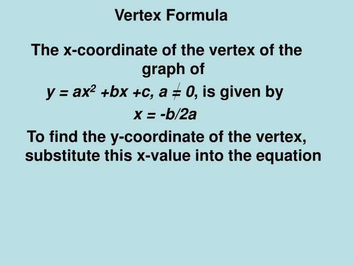 Vertex Formula