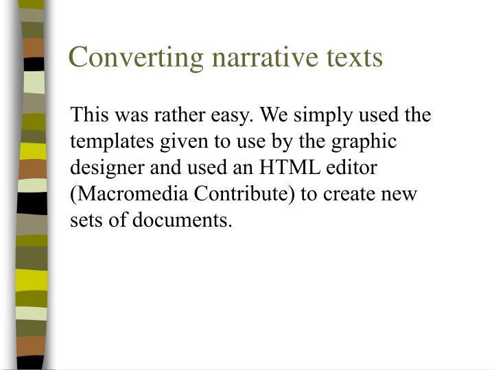 Converting narrative texts