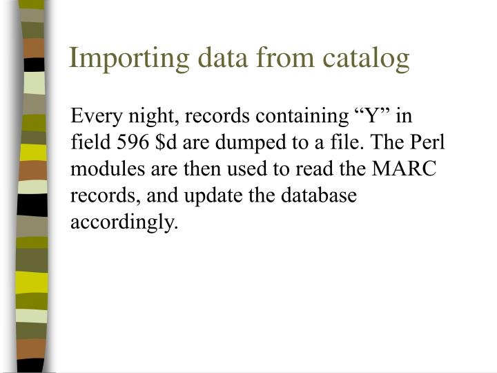 Importing data from catalog