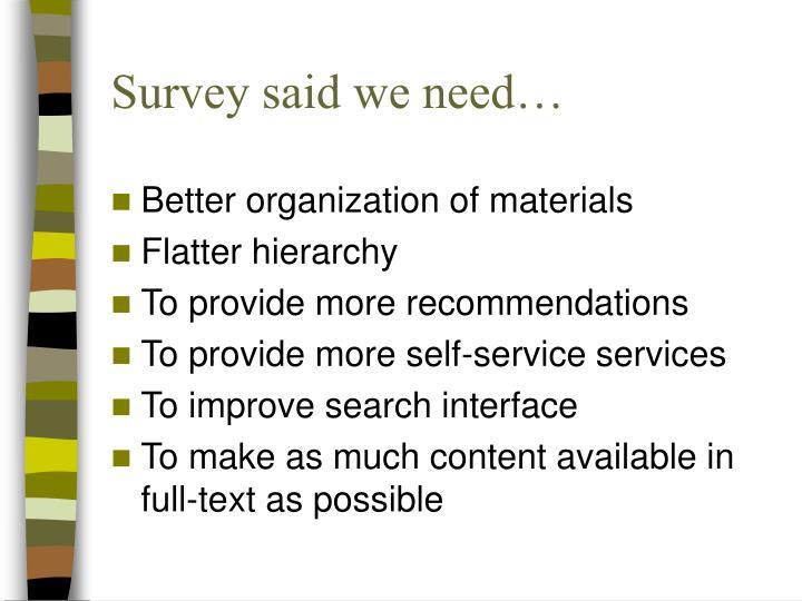 Survey said we need…