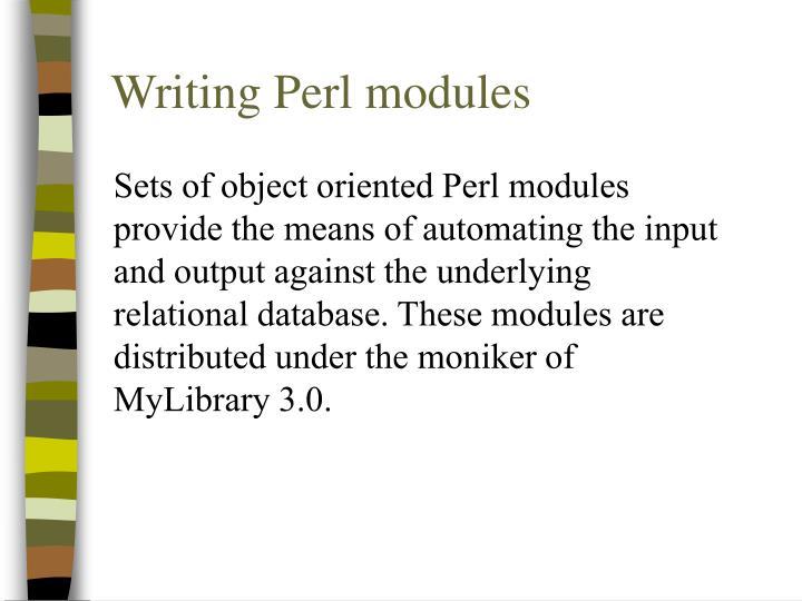 Writing Perl modules