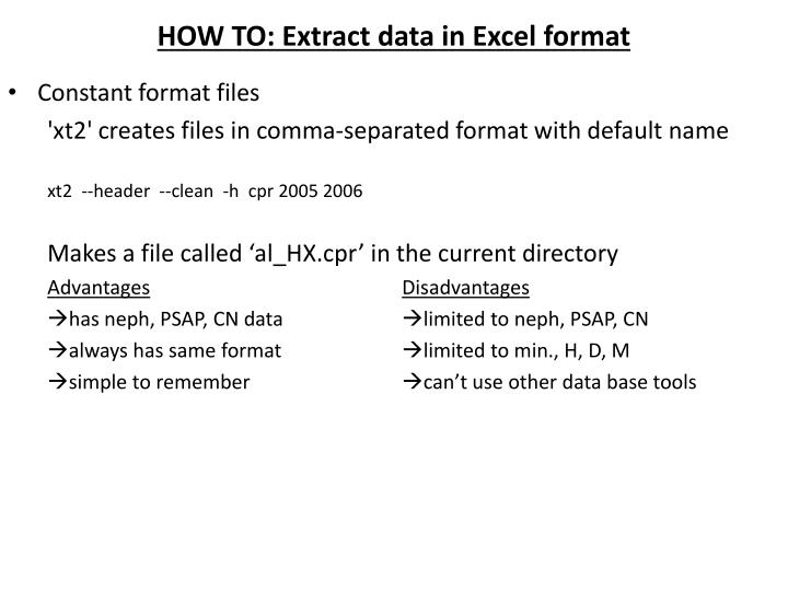 HOW TO: Extract data in Excel format