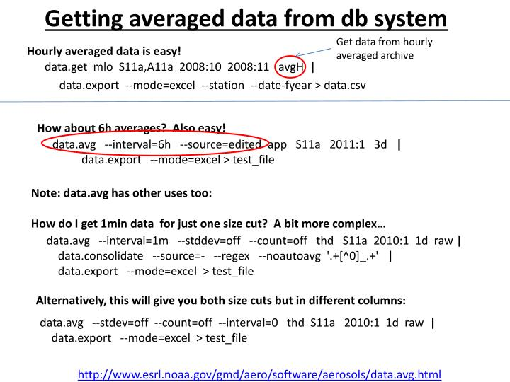 Getting averaged data from db system