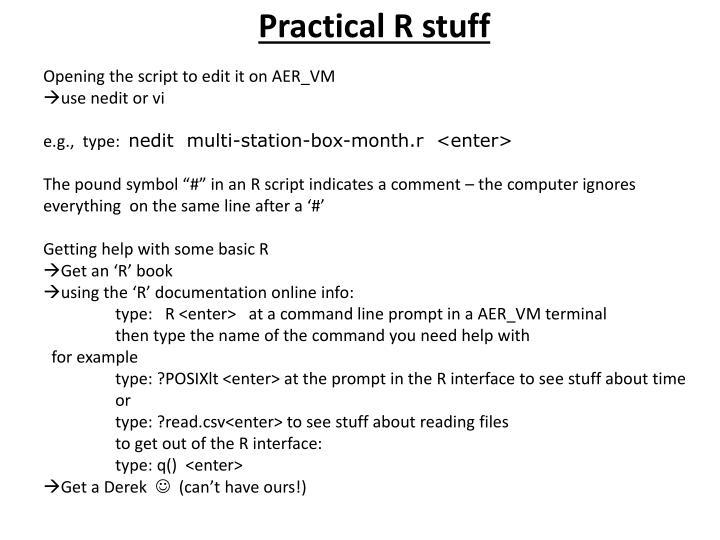 Practical R stuff