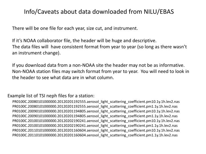 Info/Caveats about data downloaded from NILU/EBAS