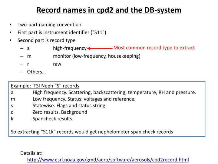 Record names in cpd2 and the DB-system