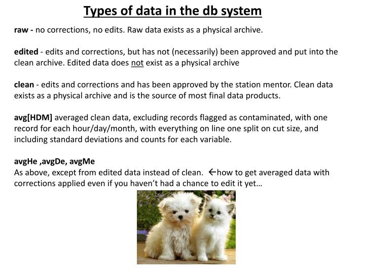 Types of data in the db system
