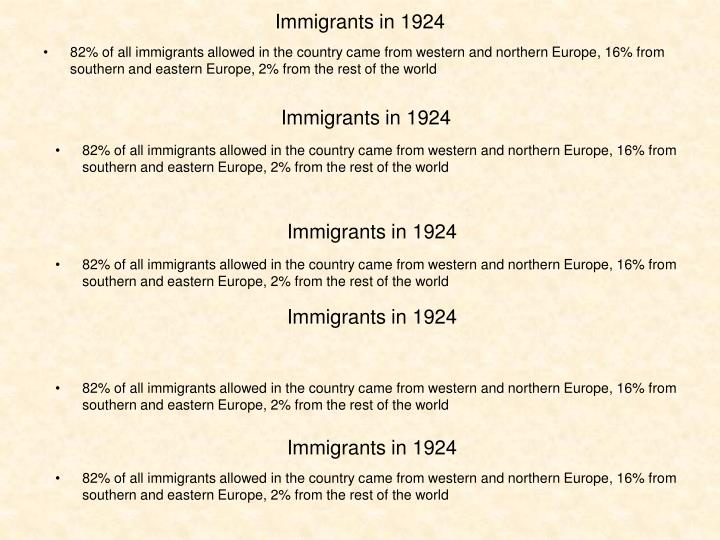 Immigrants in 1924