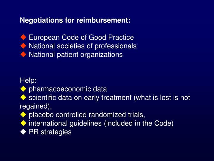 Negotiations for reimbursement: