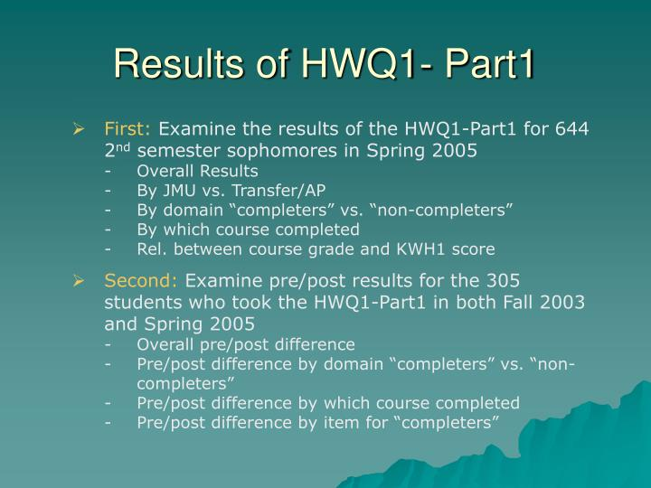 Results of HWQ1- Part1