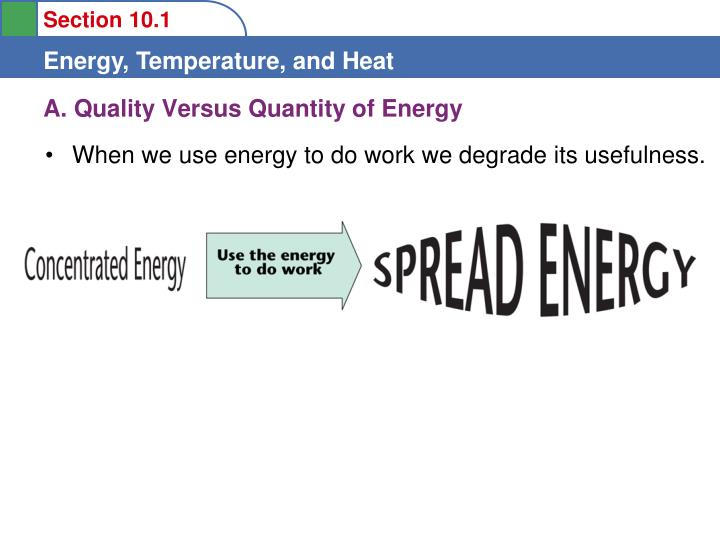 A. Quality Versus Quantity of Energy