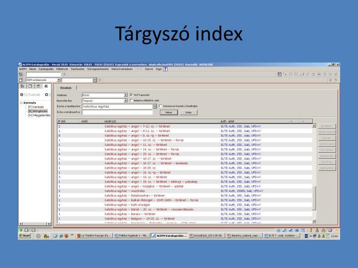 Tárgyszó index