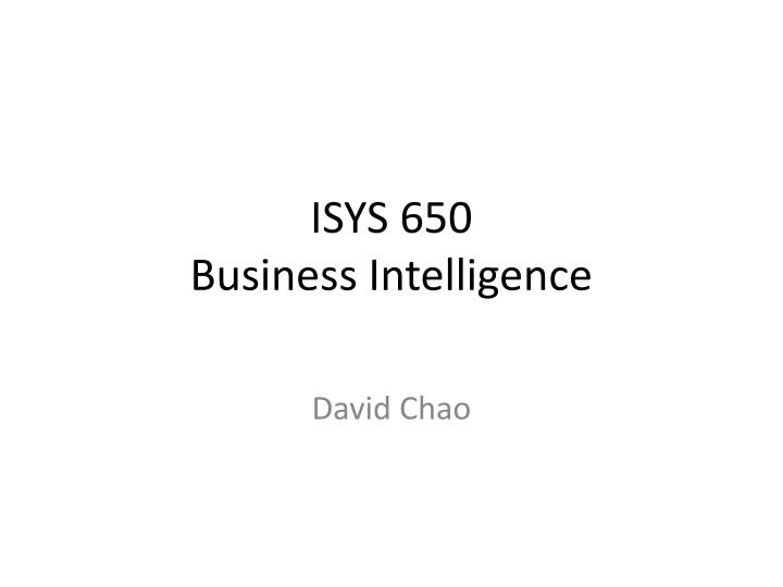 ISYS 650