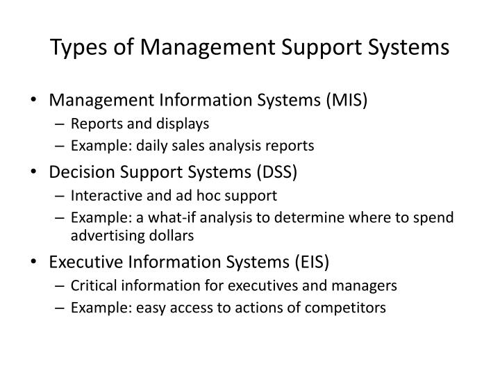 Types of Management Support Systems