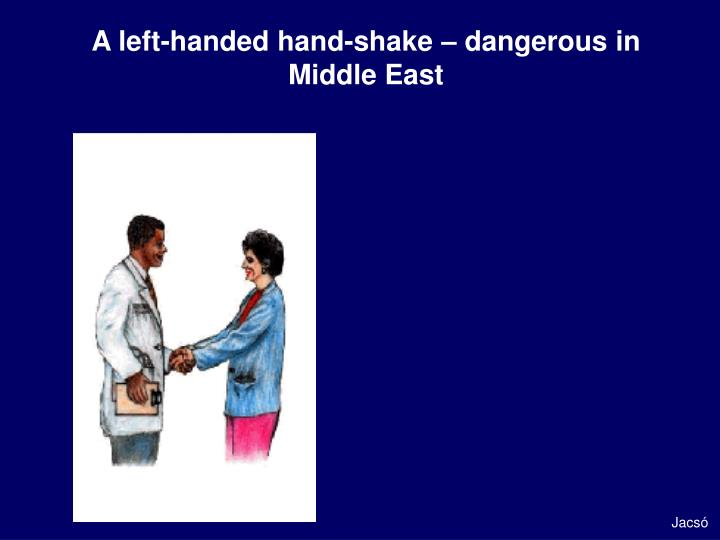 A left-handed hand-shake – dangerous in Middle East