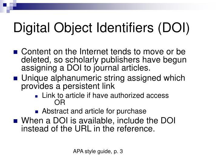Digital Object Identifiers (DOI)