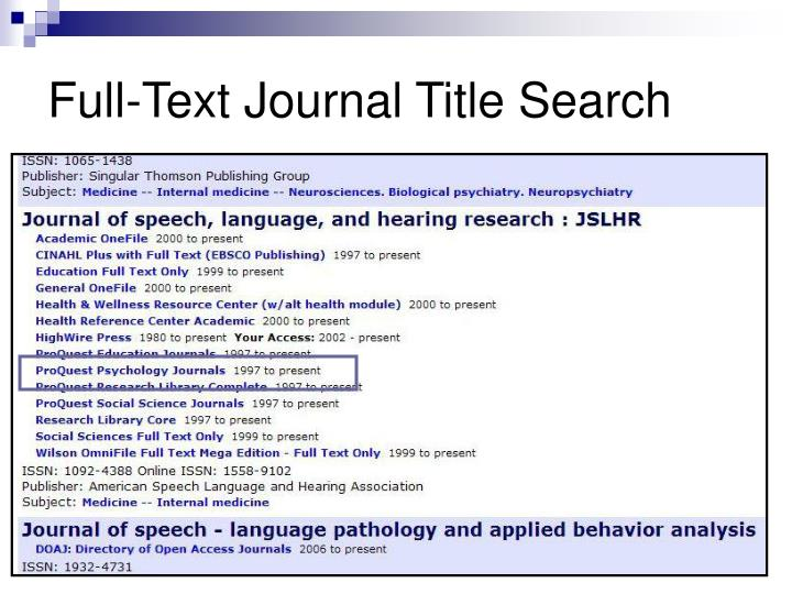 Full-Text Journal Title Search