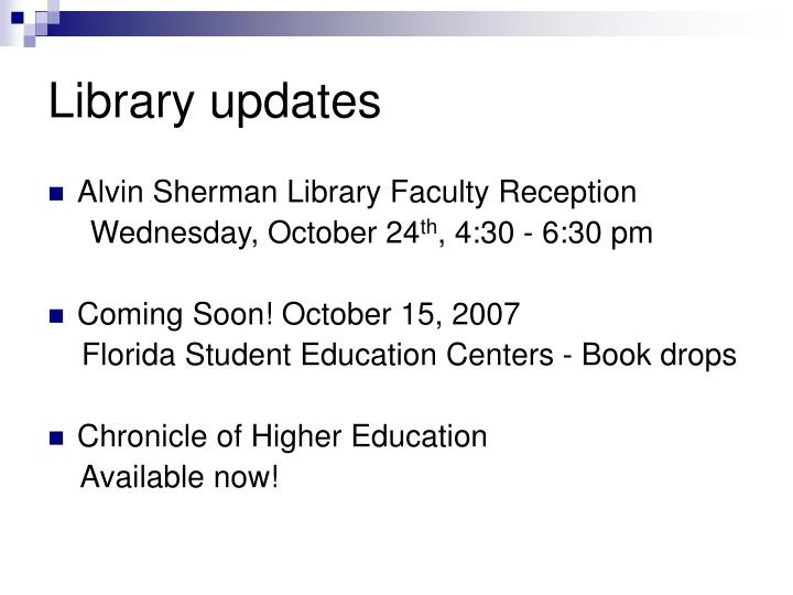 Library updates
