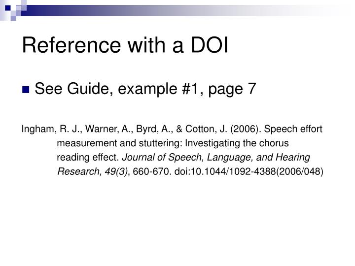 Reference with a DOI