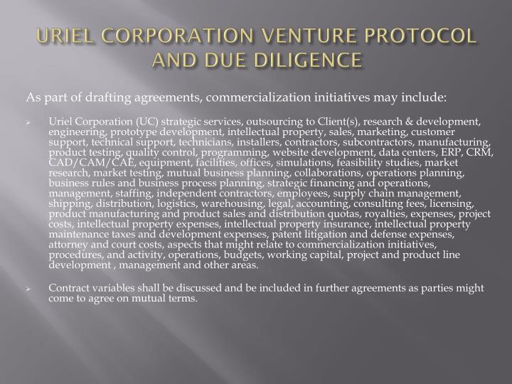 URIEL CORPORATION VENTURE PROTOCOL AND DUE DILIGENCE
