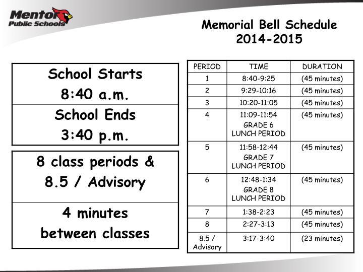 Memorial Bell Schedule